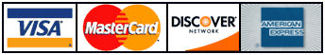 Visa/Mastercard/American Express/Discover credit cards accepted